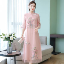Dress Summer 2021 Pink light green S M L XL 2XL 3XL 4XL Mid length dress singleton  elbow sleeve commute Polo collar High waist Decor zipper A-line skirt routine Others 35-39 years old Type A European clothes Retro Color fixation with gauze resin 31% (inclusive) - 50% (inclusive) organza  silk