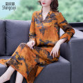 Dress Summer 2021 Picture color L XL 2XL 3XL 4XL Mid length dress singleton  three quarter sleeve commute V-neck Loose waist Decor Socket A-line skirt routine Others 40-49 years old Type A European clothes Retro printing BH-4F-463A-6256 31% (inclusive) - 50% (inclusive) other silk Silk 50% other 50%