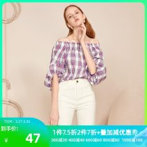 shirt Purple yellow Summer 2020 cotton 96% and above elbow sleeve commute Short style (40cm < length ≤ 50cm) One word collar Socket bishop sleeve lattice 25-29 years old Straight cylinder ibudu Simplicity