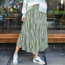 skirt Summer 2020 Average size Cardamom green longuette Versatile Natural waist Pleated skirt Solid color Type A SYDD01 More than 95% Chiffon Make a wish polyester fiber
