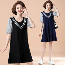 Women's large Summer 2021 Black blue XL [recommended 100-120 kg] 2XL [recommended 120-140 kg] 3XL [recommended 140-160 kg] 4XL [recommended 160-180 kg] 5XL [recommended 180-200 kg] Dress singleton  commute easy moderate Socket Short sleeve Korean version Crew neck Polyester cotton LST2097 Lancetti