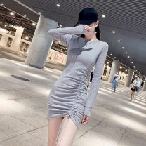 Dress Autumn 2020 White, gray, black S,M,L,XL Short skirt singleton  Long sleeves commute Crew neck Solid color Socket One pace skirt routine Others 18-24 years old Other / other Korean version Pleating SKpZaWde other