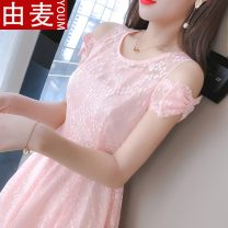 Lace / Chiffon Summer 2020 Blue, white, pink S,M,L,XL,2XL Short sleeve Sweet Self cultivation Medium length One word collar Solid color Princess sleeve 25-29 years old Other / other JAjpmW7i Ruffle, pleating, embroidery, pleating, stitching, asymmetry, zipper, 3D, lace 96% and above solar system