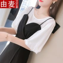 Lace / Chiffon Summer 2020 Black, yellow S,M,L,XL Short sleeve Sweet Self cultivation Medium length Crew neck Solid color puff sleeve 25-29 years old Other / other solar system
