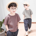 suit Nuvxmak / nuxiaoma Brown, grey 100cm,110cm,120cm,130cm,140cm,150cm,160cm,170cm male summer Korean version Short sleeve + pants 2 pieces routine There are models in the real shooting Socket nothing Solid color Cotton and hemp children Expression of love NMYJ-TZ900 Class B 10 years old Huzhou City