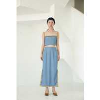skirt Summer of 2019 S, M Denim blue longuette Natural waist 18-24 years old A027 81% (inclusive) - 90% (inclusive) polyester fiber