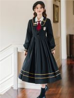 Dress Spring 2021 White shirt with black JK dress batch 2 3.3 S,M,L,XL longuette Two piece set Long sleeves Sweet Admiral High waist Solid color Socket Pleated skirt routine Others 18-24 years old Type A 51% (inclusive) - 70% (inclusive) brocade college