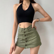 skirt Summer 2021 S,M,L Black, white, army green Short skirt Retro High waist A-line skirt Solid color Type A 18-24 years old Purple foam