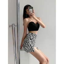 skirt Summer 2021 XS,S,M Zebra pattern Short skirt Retro High waist Irregular Zebra pattern Type A 18-24 years old Purple foam