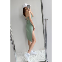 Dress Summer 2021 Black, greyish green S, M Mid length dress singleton  Sleeveless street Crew neck High waist Solid color Socket A-line skirt routine Hanging neck style 18-24 years old Type A Purple foam Europe and America