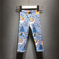 trousers jumping meters female 2t/80,3T/90,4T/100,5T/110,6T/120,7T/130 Blue horse, Tibetan rainbow, broken flower, light gray rabbit spring and autumn trousers leisure time No model Leggings Leather belt middle-waisted Pure cotton (100% content) Don't open the crotch Cotton 100% Class A