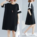 Women's large Summer of 2019 Black and white contrast XL (recommended 100-150 kg), XXL (recommended 150-200 kg) Dress singleton  commute Socket Short sleeve Crew neck Medium length raglan sleeve Other / other 81% (inclusive) - 90% (inclusive) Middle-skirt