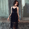 Dress / evening wear Weddings, adulthood parties, company annual meetings, daily appointments XS S M L XL Pink Black Korean version Medium length middle-waisted Winter of 2018 princess Sling type zipper 18-25 years old LJ18LF38 Sleeveless Solid color Lanju routine Polyester 100% other