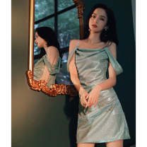 Dress / evening wear Weddings, adulthood parties, company annual meetings, daily appointments S M L Mint Green sexy Short skirt middle-waisted Summer 2020 Short buttocks Sling type zipper 18-25 years old Diamond ornament Solid color Lanju Polyester 100% Pure e-commerce (online only)