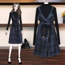 Women's large Autumn 2020 Black top and back skirt suit L [100-120 Jin recommended] XL [120-140 Jin recommended] 2XL [140-160 Jin recommended] 3XL [160-180 Jin recommended] 4XL [180-200 Jin recommended] Two piece set commute Self cultivation moderate Cardigan Long sleeves lattice Korean version belt