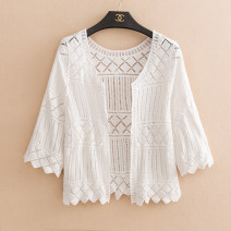 short coat Summer of 2019 S M L white three quarter sleeve have cash less than that is registered in the accounts Thin money singleton  Shawl type Versatile routine Solid color 18-24 years old Magic Kafen 96% and above Hollowing out MKF005XPJ other Other 100% Pure e-commerce (online only)