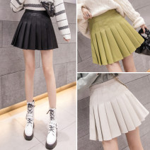 skirt Autumn 2020 S M L XL Black apricot green Short skirt commute High waist Pleated skirt Solid color Type A 18-24 years old a-6203 More than 95% other AI Fanzhe other fold Korean version PU Exclusive payment of tmall