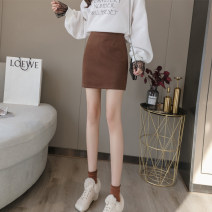 skirt Autumn 2020 S M L XL Black Brown Short skirt commute High waist A-line skirt Solid color Type H 25-29 years old a-3748 Wool AI Fanzhe zipper Korean version Exclusive payment of tmall