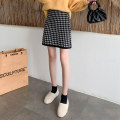 skirt Autumn 2020 Average size Black Khaki Short skirt commute High waist A-line skirt lattice Type H 25-29 years old knitting AI Fanzhe zipper Korean version Exclusive payment of tmall