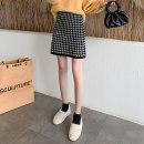 skirt Autumn 2020 Average size Black Khaki Short skirt commute High waist A-line skirt lattice Type H 25-29 years old knitting AI Fanzhe zipper Korean version Exclusive payment of tmall