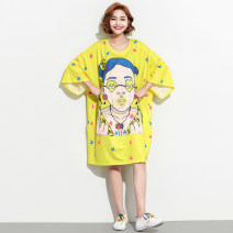 Women's large Summer 2021 yellow Big size average T-shirt singleton  commute easy moderate Socket elbow sleeve Cartoon animation Korean version Medium length polyester fiber 25-29 years old