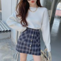 Fashion suit Winter 2020 S. M, l, average size White sweater, Navy skirt, suit 18-25 years old