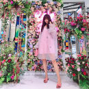 Dress Summer of 2019 lilac colour S, M Mid length dress singleton  Long sleeves Sweet Loose waist Solid color Socket 25-29 years old Type H Diamond inlay More than 95% organza  polyester fiber princess
