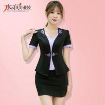 Hotel uniform Spring 2021 Grey with green (short sleeve), black with purple (short sleeve), grey with green (medium sleeve), black with purple (medium sleeve) S,M,L,XL,XXL,XXXL SYJ-YJ8170-1 25-35 years old polyester fiber 81% (inclusive) - 90% (inclusive)
