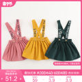 Dress Grey powder dark yellow dark green female Marc&Janie 18M 24M 3T 4T 5T 6T 8T Cotton 100% spring and autumn Europe and America Strapless skirt other cotton Strapless skirt TD91037 Class A Spring 2021