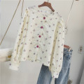 shirt Light yellow Average size Autumn 2020 other 96% and above Long sleeves Regular Crew neck Single row multi button Broken flowers Chiffon