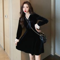 Dress Winter 2020 black S,M,L,XL,2XL Short skirt singleton  Long sleeves commute V-neck High waist Solid color zipper A-line skirt bishop sleeve 18-24 years old Type A Other / other Retro bow 81% (inclusive) - 90% (inclusive) cotton