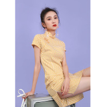 cheongsam Spring 2020 S M L XL XXL XXXL Xiaohuangge B0017 xiaohuige B0018 Short sleeve Short cheongsam lady Low slit daily Oblique lapel lattice 18-25 years old Piping B0017 Wen Qing other Other 100% Pure e-commerce (online only)