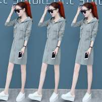 Dress Autumn 2020 Black, gray S,M,L,XL,2XL singleton  Long sleeves commute Hood High waist Solid color zipper Pencil skirt routine Others 30-34 years old Type H Demon pocket HYXL6807 brocade other