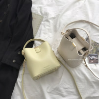 Bag The single shoulder bag PU Bucket bag brand new Japan and South Korea Small leisure time soft Magnetic buckle no Solid color Double root One shoulder cross carry nothing youth Bucket shaped Sewing Soft handle polyester fiber inside pocket with a zipper soft surface Inner patch pocket