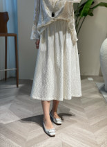 skirt Spring 2021 S,M,L white longuette commute Natural waist A-line skirt Solid color Type A 30-34 years old More than 95% Silk and satin There is blue silk fold Retro