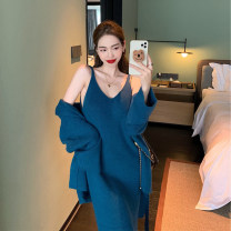 Dress Winter 2020 Blue coat + blue sling S M L longuette Two piece set Long sleeves commute V-neck High waist Solid color Socket A-line skirt routine camisole 18-24 years old Type A Fan yiqixiu Korean version F20111605 More than 95% knitting other Viscose (viscose) 100%