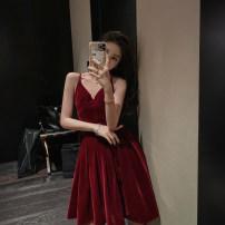 Dress Spring 2020 Black, Retro Red XS,S,M,L Mid length dress singleton  Sleeveless commute V-neck High waist Solid color Socket A-line skirt other camisole Type X Studio / Xu Lin Korean version X190917