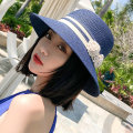 Hat Straw weaving Beige Khaki Navy Black One size fits all (adjustable windbreak) Straw hat Spring summer autumn female leisure time Middle aged youth dome Wide eaves 15-19 years old 20-24 years old 25-29 years old 30-34 years old 35-39 years old 40-59 years old flower Shopping other Xinxiu ZYM0521