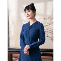 Dress Spring 2021 Navy blue, pure black S. M, l, XL, custom longuette singleton  Long sleeves commute V-neck middle-waisted Solid color Single breasted Pleated skirt routine 30-34 years old Type X LanJin Retro Buttons, embroidery More than 95% Silk and satin silk