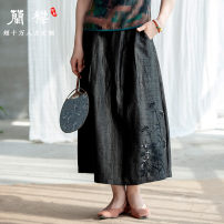 skirt Summer of 2019 S. M, l, XL, custom, stock XL, stock L, stock M Red embroidery, blue embroidery, black embroidery, red no embroidery, blue no embroidery, black no embroidery longuette Retro Natural waist Pleated skirt Solid color Type A More than 95% Silk and satin LanJin silk Embroidery