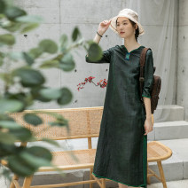 Dress Summer 2020 Pale green S. M, l, XL, custom, stock XL longuette singleton  three quarter sleeve commute V-neck middle-waisted Solid color Socket A-line skirt routine Type A LanJin Retro Embroidery More than 95% Silk and satin silk