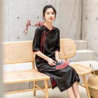 cheongsam Spring 2021 S. M, l, XL, custom, stock L, stock XL black long cheongsam Retro Low slit Square placket Solid color LanJin silk 96% and above