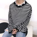 T-shirt / sweater Others Youth fashion Black, white, striped M, L Thin money Socket Crew neck Long sleeves winter easy 2019 Travel? Exquisite Korean style youth routine Solid color Edge grinding Regular wool (10 stitches, 12 stitches) hole