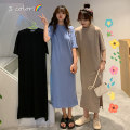 Women's large Spring 2021 Khaki blue black M L XL Dress singleton  commute easy thin Socket Short sleeve Solid color Korean version Crew neck cotton printing and dyeing 2021-922 Xuan duo Ni 18-24 years old 96% and above longuette Cotton 100% Pure e-commerce (online only) other