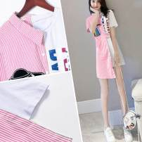 Dress Summer 2020 S,M,L,XL,2XL,3XL Mid length dress singleton  Short sleeve commute other High waist stripe Single breasted A-line skirt other Others 25-29 years old Type A Korean version Stitching, asymmetry, buttons More than 95% other