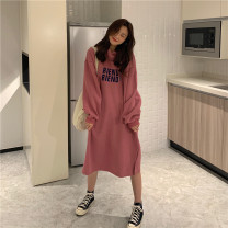 Dress Winter 2020 Bean paste powder with cashmere and cotton light gray with cashmere and cotton Average size Mid length dress singleton  Long sleeves commute Hood Loose waist letter other other routine Others 18-24 years old Type H He Mu Korean version printing HM481 other polyester fiber