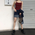 skirt Summer 2020 S, M Navy Blue Short skirt commute High waist Denim skirt Solid color Type A 18-24 years old More than 95% other cotton Retro