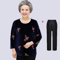Middle aged and old women's wear Autumn of 2018 leisure time T-shirt easy Two piece set Decor Over 60 years old Socket moderate Crew neck routine routine Embroidery polyester 81% (inclusive) - 90% (inclusive) Long sleeves trousers 6 oz (inclusive) - 8 oz (inclusive)