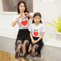 Parent child fashion Black suit, white suit Women's dress female Other / other summer routine Cartoon animation suit Cotton blended fabric Class B 14 years old