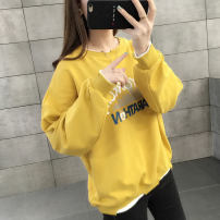 Sweater / sweater Autumn of 2019 Skin pink yellow white Average size Long sleeves routine Socket singleton  routine Crew neck easy commute routine Solid color 18-24 years old 96% and above Book view Korean version other SJ191035 Printed stitching thread Other 100% Pure e-commerce (online only)